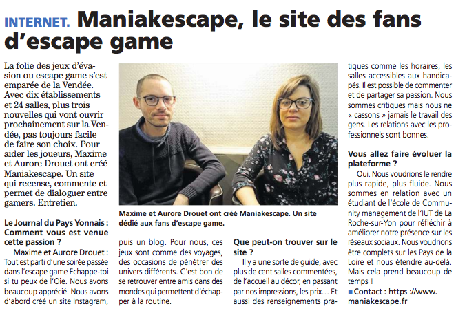 Article-Le-Journal-Du-Pays-Yonnais-13-12-18-Escape-Game-Maniakescape